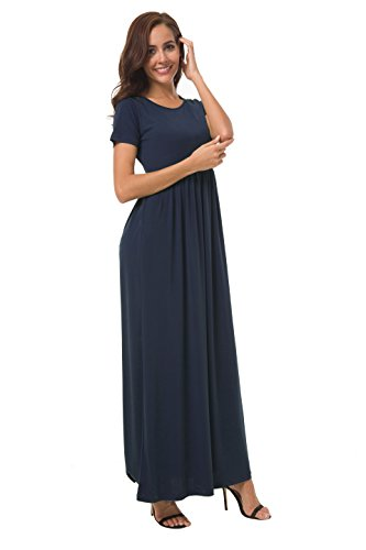 Casual Navy Women Pockets With Blue Long Loose Sleeve Maxi Plain Dress Short Coreal 4YHqTwT