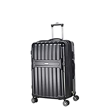 Image of Luggage Ambassador Luggage Virgin PC material Spinner Luggage Hard shell Rolling Zipper Suitcase Expandable TSA lock (black, medium)