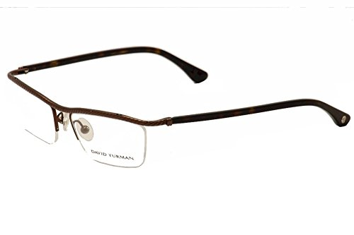 David Yurman 043 Womens/Ladies Designer Half-rim Titanium Eyeglasses/Eyewear (53-16-129, Brown / - Glasses Bottom Rim Half
