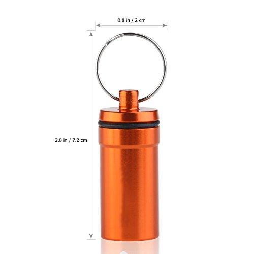 WINOMO 6 piezas Pastillero Píldoras Llavero Caja Botella Contenedor De Aluminio Impermeable 7