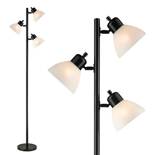 Light Accents 3 Light Floor Lamp - Tree Style Standing Lamp with Adjustable Lights - Floor Standing Pole Light - Tall Lamp Torchiere - Living Room Lamp Black - Lamp Floor Pole Ceiling