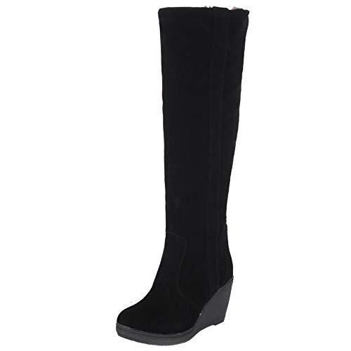 Mode Femmes Boots Long Compensé Taoffen Talon Hiver Noir UHO5Wpq