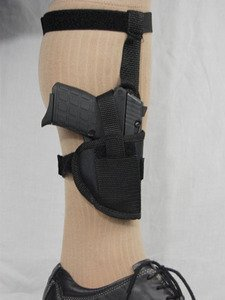 Barsony Black Nylon Ankle Holster for .380, Sub-Compact, Ultra-Compact 9mm 40 45 from Barsony Holsters and Belts