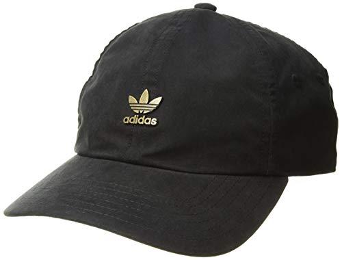 adidas Men's Originals Metal Logo Relaxed Adjustable Strapback Cap, Black/Antique Gold, One Size