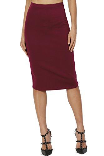 (TheMogan Women's Basic Stretch Thick Ponte Knit Pencil Midi Skirt Burgundy 3XL)