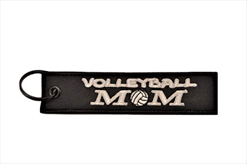 Big Rock Tags Custom Embroidered Volleyball MOM Key Chain ()