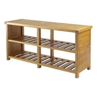 Keystone Tan Wood 2-shelf Shoe Bench, 38.4'' wide x 11.8'' deep by Generic