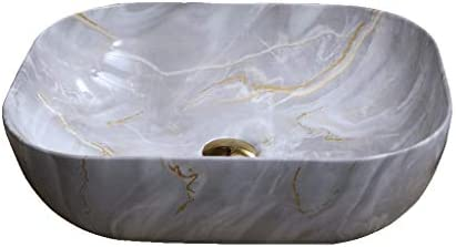 WJ 洗面台 (タップなし)バスルームの洗面台、楕円形のセラミックカウンター洗面化粧台ホームホテルアート流域シングル盆地、50X40X14.5cm /-/ (Size : 50X40X14.5cm)