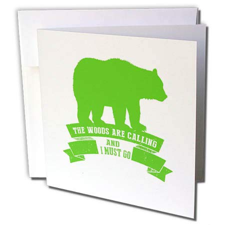 3dRose Russ Billington Designs - Bear and Scroll Design in Green- The Woods are Calling - 6 Greeting Cards with envelopes (gc_287521_1)