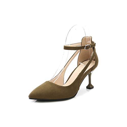 Pretty-Shop sandals Heels Sandal Pumps for Women Nightclub Sexy Large Size High Heel,Army Green pu,41