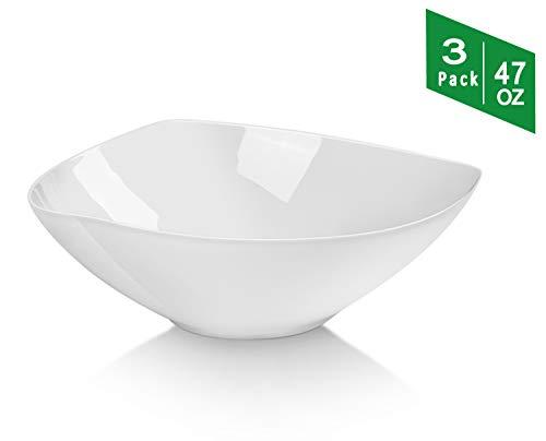 TGLBT 3 Packs Salad Bowls 9 inch Porcelain Serving Pasta Bowl Set,White, Stackable ()