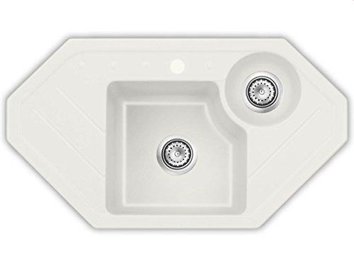 Systemceram Sinus Eck Jasmin Keramik-Spüle Handbetätigung Creme Eckspüle Küche