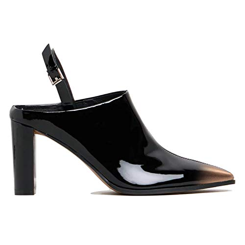 FOWT Slingback Chunky High Heel Pumps for Women with Pointed Toe Two Toned, Open Heel Closed Toe Mule Ankle Buckle Black and Gold Gradient Sandals for Party Wedding Office 11 M US