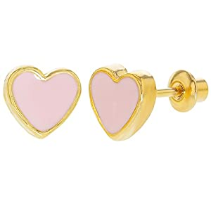 Amazon Com 18k Gold Plated Pink Enamel Heart Girls Toddlers Screw