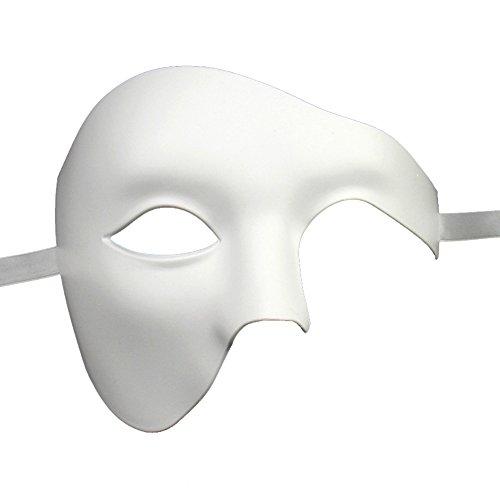 [Xvevina Unisex Half Face Phantom Of The Opera Costume Masquerade Mask (plain white)] (Plain White Mask Costume)
