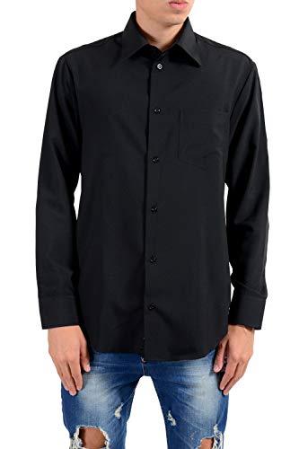 300a428bce3a Armani Collezioni Solid Black Button Front Men s Casual Shirt US XL IT ...