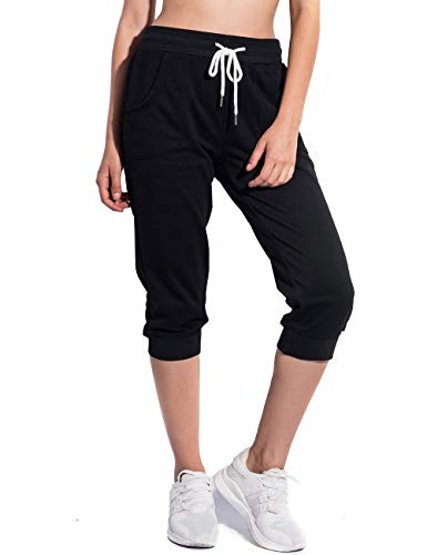 PULI Women's Cropped Pants Joggers Capri Sweatpants with Pockets Black Small