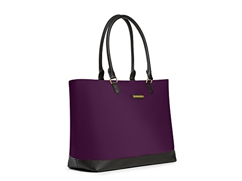 Archer Brighton Isabel Women's Laptop & Tablet Zip Tote, Women's 15.6 & 17 Inch Business Computer Briefcase Bag with Crossbody, Leather Canvas Organizer Handbag Purse for Work, Travel (Bilberry) by Archer Brighton (Image #1)