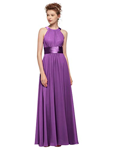 AW Women's Bridesmaid Dresses Long Jewel Neck Prom Dresses 2019 Chiffon Evening Formal Dresses, Purple, US14