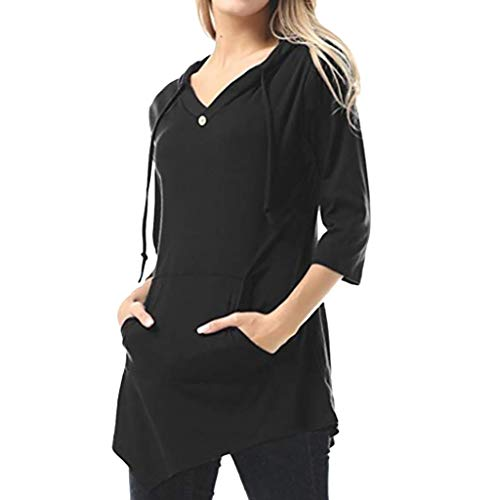 Inverlee Blouse Women's Sexy V-Neck Solid Color Pullover Fashion Pocket Hoodie Black
