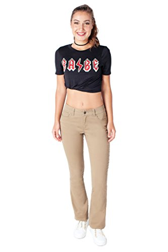 Bebop Women's Size 9, Khaki, 5 Pocket Bootcut Stretch Cotton Twill Chino (Bootcut Stretch Twill)