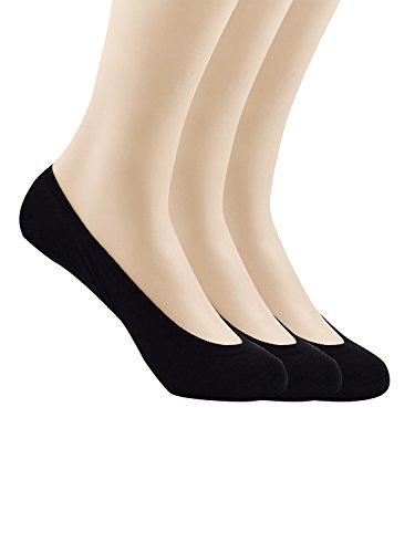 Zando Womens Mens Solid Durable No Show Anti-Slip Flat Boat Cotton Casual Socks 3 Pairs Black M: 9.5