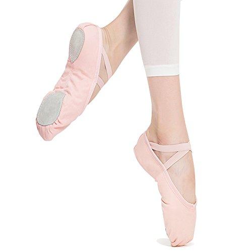 STELLE Girls Canvas Ballet Slipper/Ballet Shoe/Yoga Dance Shoe (Toddler/Little Kid/Big Kid/Women/Boy)(8M Toddler, Ballet (Pink Flats Shoes)