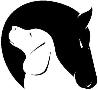 Cvxgdsfg 12.7CM X 11.8CM perro caballo amistad amor animal decoración coche pegatina (Color : Black)