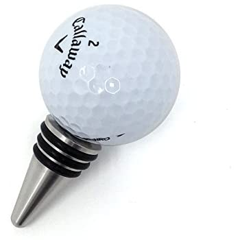 Golf Ball Wine Bottle Stopper - Handmade with Stainless Steel Base and Real Golf Ball