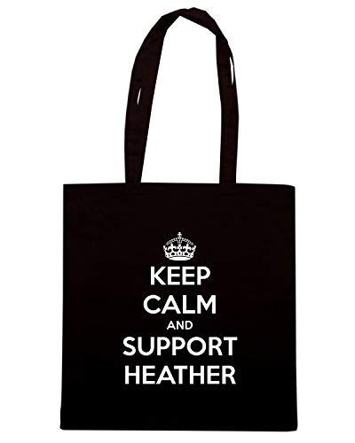 Speed Shirt Borsa Shopper Nera TKC0970 KEEP CALM AND SUPPORT HEATHER