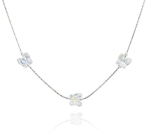 Girls Butterfly Necklace Made with Original Swarovski AB Crystal & 925 Sterling Silver, 16