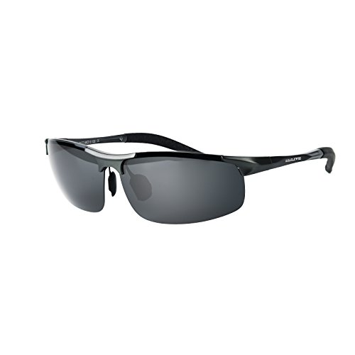 LRAiLIVE Polarized Sunglasses for Men and Women Al-Mg Metal Frame Running Driving Fishing Baseball (Gun - L Sunglasses