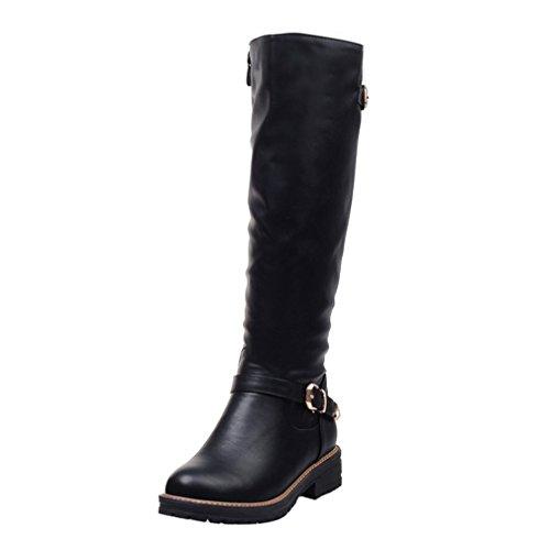 ENMAYER Mujer PU Material Hebilla Ronda Toe Cremallera Plano con Botas de Piel de Invierno de Tobillo Negro