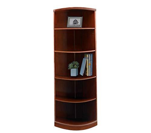 Wood & Style Sorrento Quarter Round Corner Bookcase 5 Shelf Bourbon Cherry Veneer Decor Comfy Living Furniture Deluxe Premium - Quarter Shelf Round Bookcase 5