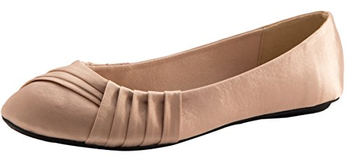 Cambridge Select Women's Slip-On Closed Round Toe Woven Ballet Flat,7 B(M) US,Beige Satin by Cambridge Select