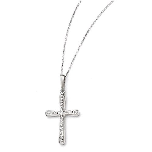 (14k White Gold Diamond Fascination 18in Cross Necklace)