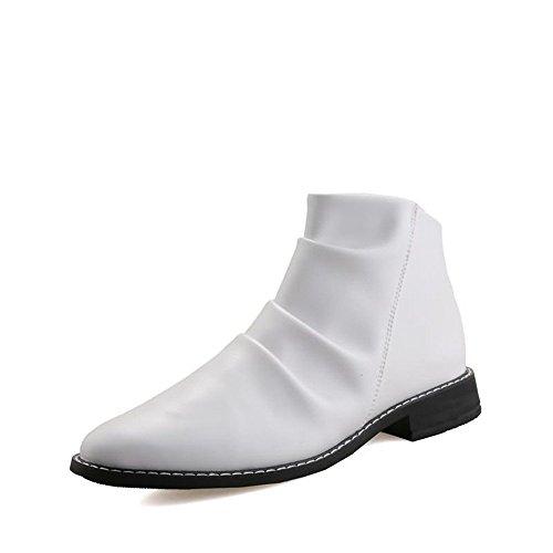 Stivaletti 44 Bianca largo con EU spillo tacco shoes 2018 da Stivali uomo Bianca tacco a da Xujw e Color Uomo Dimensione vXnUaxWvq