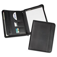 * Professional Zippered Pad Holder, Pockets/Slots, Writing Pad, Black