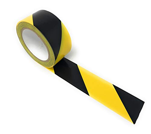 APT, (Yellow &Black, 2'' Width, 36 Yds Length), PVC Marking Tape, Premium Vinyl Safety Marking, Dance Floor Splicing Tape, Floor Tape and Caution Tape, 6 mil Thick. (Multiple Color)