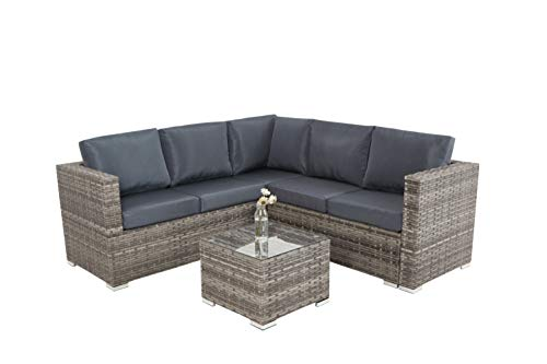 XHTANG 5 Seater Corner Garden Furniture Set with Glass Coffee Table