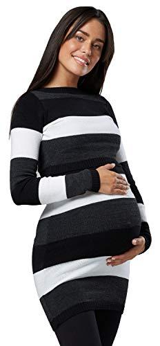 HAPPY MAMA Donna maternità Tunica Lavorata Maglia Girocollo Taglia 453p Premaman