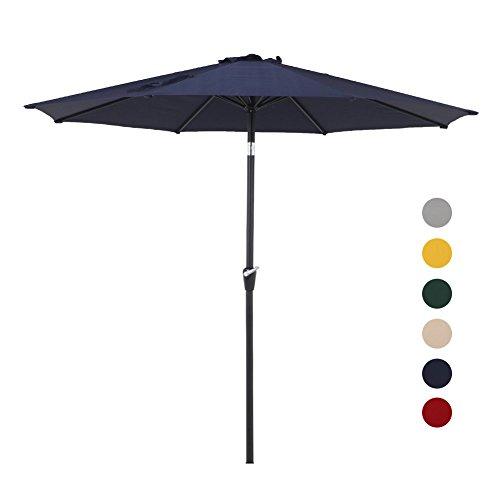 Grand patio 9.7 FT Aluminum Patio Umbrella, 8 Ribs Powder Coated Outdoor Market Umbrella, UV Protective Beach Umbrella with Push Button Tilt and Crank, Blue