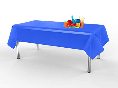 - Lily + Oliver Plastic Table Cloths for Parties - (6 Pack) Disposable Blue Plastic Tablecloth - Rectangle Indoor/Outdoor Tablecloth - Plastic Table Covers 54