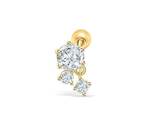 (14K Solid Yellow Gold 6mm Jewelry Cz Round Ball Waterdrop Teardrop Ear Studs Post Ball Earring Piercing For Women Sensitive Ears)
