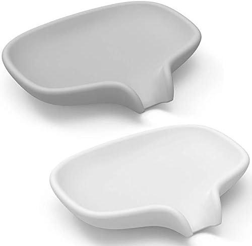 PQZATX 排水皿付きソープディッシュ、シャワー/バスルーム用シリコン石鹸ホルダーセーバー、 石鹸を清潔に保ち、2パック、 ホワイトとグレー