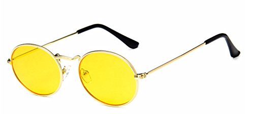 (My Shades - Vintage Classic Metal Oval Fashion Sunglasses (Gold, Yellow))
