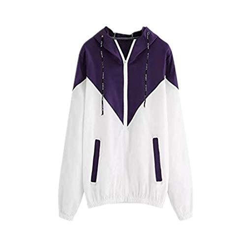 DBHAWK Women Long Sleeve Patchwork Hooded Thin Sport Coat Skinsuits Zipper Pockets Jacket (Route Blazer 66)