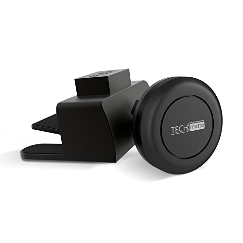 Car Mount TechMatte MagGrip Mini CD Magnetic Car Mount Holder for Smartphones including iPhone X, 8, 7, 6, 6S, Galaxy S8, S7, S7 Edge - Black by TechMatte