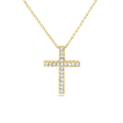 Cut Diamond Necklace (Diamond Cross Necklace 1/10 Carat TDW Shared Prongs in 10k Gold, Yellow)