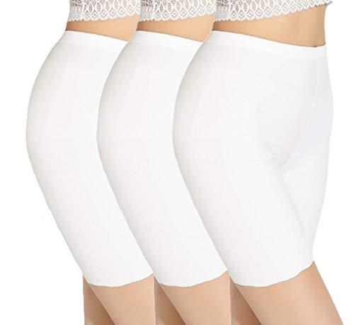 TRISTIN Womens Boxer Briefs Soft Underwear 3-Pack White Under Skirt Shorts Panty Silk&Spandex Stretch Boyshorts